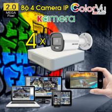 Trọn Bộ 04 Camera IP Hikvision ColorVu
