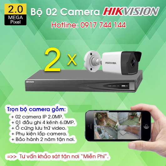 TRỌN BỘ 02 CAMERA IP HIKVISION 2.0MP