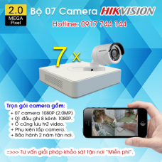 TRỌN BỘ 7 CAMERA HIKVISION 1080P