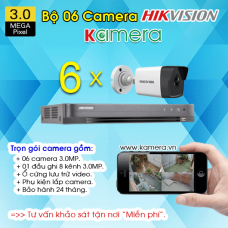 TRỌN BỘ 6 CAMERA HIKVISION 3.0MP