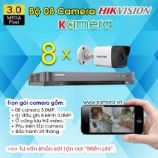 TRỌN BỘ 8 CAMERA HIKVISION 3.0MP
