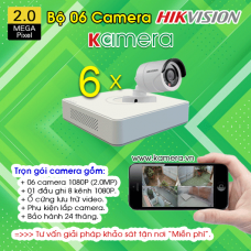 TRỌN BỘ 6 CAMERA HIKVISION 1080P